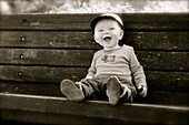 Baby, Bench, Black & white, Body, Boy, Face, Infant, Toddler, G34-1050470, agefotostock