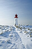 Lighthouse List West, seen from a low perspective, on snow covered dunes showing tracks of a rabbit leading to the lighthouse, with a bright blue sky at a sunny day, Sylt, Northfrisian Islands, Schleswig-Holstein, Northern Germany, Europe