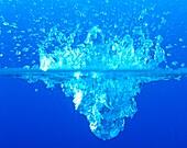 Action, Blue, Close-up, Closeup, Color, Color image, Colour, Concept, Concepts, Detail, Details, Drop, Droplet, Droplets, Drops, Fall, Falling, Indoor, Indoors, Interior, Light, Lightness, Liquid, Liquids, Motion, Movement, Moving, One, Physics, Shape, Sh
