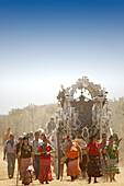 Pilgrims going to El Rocio, Almonte, Huelva province, Andalusia, Spain
