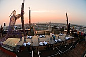 A dinner on the rooftop of the Siam@Siam Design Hotel, Downtown Bangkok, Thailand
