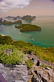 Hiking to the top of Ko Wua Talap, one of the islands in the Angthong National Marine Park 42 limestone islands near Koh Samui island, Gulf of Thailand, Thailand