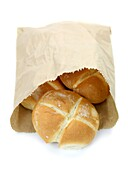 Bread rolls isolated against a white background