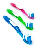 Toothbrushes isolated against a white background