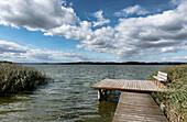 Jetty at lake Malchin, Seedorf, Basedow, Mecklenburg Switzerland, Mecklenburg-Vorpommern, Germany