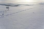 to leave one's mark in the snow, snowy landscape, signboard, signpost, airfield, airport, scenery, near Gersfeld, Wasserkuppe, low mountain range, Rhoen, Hesse, Germany