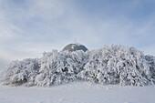 radar dome, radar station, radome, landscape, scenery, snow, snowy, snow-covered, snow, to leave one's mark in the snow, winter, near Gersfeld, Wasserkuppe, low mountain range, Rhoen, Hesse, Germany