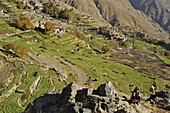 Girl and village amidst fields  in Ourika valley, trekking in the High Atlas from Imlil, Toubkal Area, Morocco