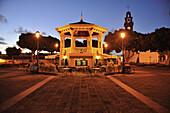 Pavillon at the market square after sunset, Buenavista del Norte, Northwest Tenerife, Spain