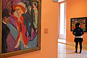 Painting By Ernst Ludwig Kirchner And A Young Woman In One Of The 18 Exhibition Halls, Thyssen-Bornemisza Museum (Museo) Of Fine Arts, Madrid, Spain