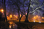 A Man Alone In A Public Garden At Night, Rugles, Eure (27), France