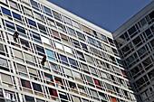 Maintenance Work On A Subsidized Housing Apartment Building, Rue Du Commandant Mouchotte, 14Th Arrondissement, Paris, France
