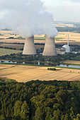 Aerial photo of nuclear power plant Grohnde, Weser River, Lower Saxony, Germany