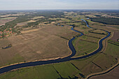 Aerial photo of the meanders of the Aller river near Verden, Lower Saxony, Germany