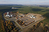 Aerial photo of the interim nuclear waste depot at Gorleben in Lower Saxony, Germany