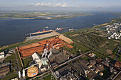 Aerial view of AOS bauxite loading wharf for aluminium production, site near Stade, Lower Saxony, Germany