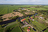 Aerial of the Blockland district of Bremen with marshland, dykes and farms, Bremen, Germany
