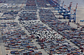 Aerial view of a container port terminal with rows of containers, Bremerhaven, Bremen, Germany
