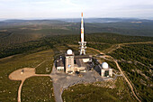 Aerial view above the Brocken mountain in Harz National Park with radio transmitter, Saxony-Anhalt, Germany