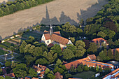 Aerial view of Riddagshausen Abbey monastery near Brunswick, shadow of the roof, Lower Saxony, Germany