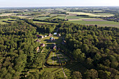 Aerial view of Clemenswerth palace and hunting lodge with park landscape, eight pavillions are grouped together in the form of a star, Sögel, Lower Saxony, Germany