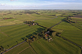 aerial view of meadows, farms and farmland, near Cuxhaven, Lower Saxony, Germany