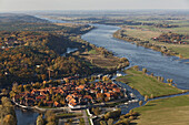 Aerial view of the town of Hitzacker on the junction of the Jeetzel River along the upper Elbe River, Hitzacker, Lower Saxony, Germany