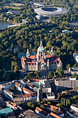 Aerial shot of the new town hall and AWD-Arena near lake Maschsee, Hanover, Lower Saxony, Germany