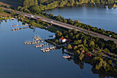 Aerial view of the Autobahn A7 and shingle ponds near Northeim, boats, Lower Saxony, Germany