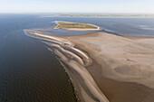 Aerial view of uninhabited Minsener Oog and Mellum islands, Lower Saxony, Germany