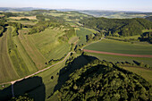 Aerial view of fertile landscape, Weser Hills, Lower Saxony, Germany