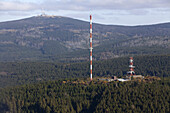 Aerial of the Brocken mountain, transmitter mast, forest, Lower Saxony, Germany