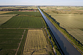 Aerial view of the Midland Canal, Mittelland Canal near Sehnde, Lower Saxony, Germany