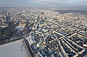 Aerial view of the city Hannover in winter snow, Lower Saxony, Germany