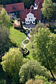 Aerial shot of Barkenhoff, artistic community Worspwede, Lower Saxony, Germany