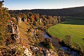 Rock formation twelve apostles, Solnhofen, Altmuehltal nature park, Bavaria, Germany