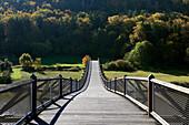 Wood bridge, near Essing, nature park Altmühltal, Franconian Alb, Franconia, Bavaria, Germany