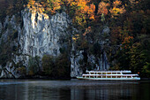 Excursion ship at the canyon of the Danube river, near Weltenburg monastery, Danube river, Bavaria, Germany
