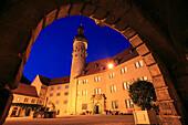 Inner courtyard of the castle, Weikersheim, Tauber valley, Romantic Road, Baden-Wurttemberg, Germany