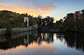 Pond at the Faulturm, Dinelsbühl, Romantic Road, Franconia, Bavaria, Germany