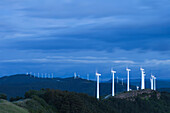 Wind energy plant under clouded sky, Alto del Perdon, Sierra del Perdon, Province of Navarra, Northern Spain, Spain, Europe