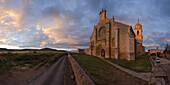 The church Santa Maria del Manzano at sunset, Castrojeriz, Province of Burgos, Old Castile, Castile-Leon, Castilla y Leon, Northern Spain, Spain, Europe