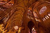 Low angle view at the vault of the cathedral Santa Maria de Regla, Leon, Province of Leon, Old Castile, Castile-Leon, Castilla y Leon, Northern Spain, Spain, Europe