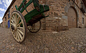 Cart at the village of Castrillo de los Polvazares, Province of Leon, Old Castile, Castile-Leon, Castilla y Leon, Northern Spain, Spain, Europe