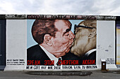The East Side Gallery along Mühlenstrasse, the longest preserved piece of Berlin Wall, with 1.3 kilometres length the longest open air gallery of the world, Berlin Wall Trail, Friedrichshain, Berlin, Germay, Europe