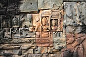 Old Reliefs of Buddha Figures at Bayon Temple in Angkor