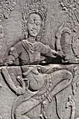 Angkor (Cambodia): carved wall at the Bayon