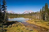 Mountain scenery and peaceful lake in Kananaskis Country, Alberta, Canada