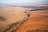 An aerial view of the Kuiseb riverbed and the Namib Naukluft Park, Namibia, Africa