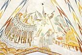 Denmark, Jutland, Silkeborg region, Vinderslev church, 13th century frescoes depicting the Last judgement